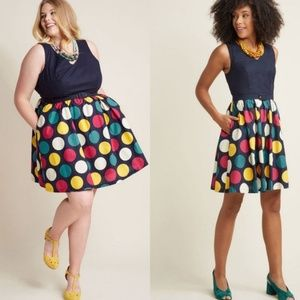 NWT Modcloth Navy Big Dot Belted Dress
